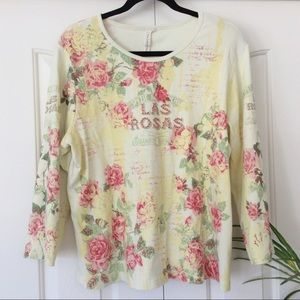 Susan Lawrence 1X Yellow Floral 3/4 Sleeve…
